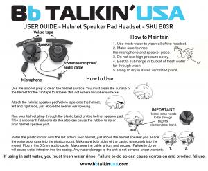 Double sided helmet speaker pad manual