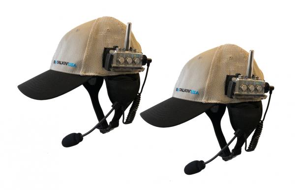Two way communication set with baseball caps